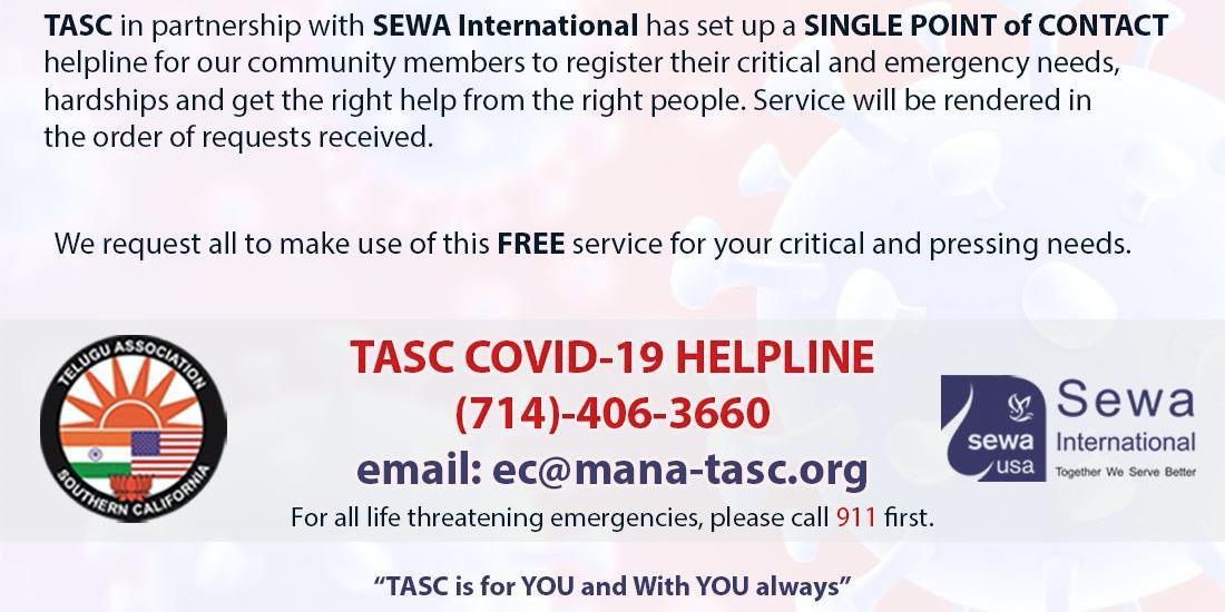 TASC COVID-19 HELPLINE