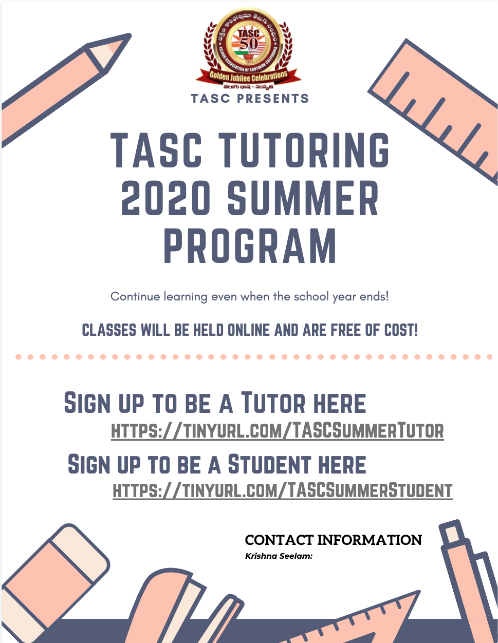 TASC TUTORING 2020 SUMMER PROGRAM